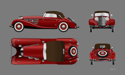Fototapeta Red retro car on gray background. Vintage cabriolet in realistic style. Front, side, top and back view. Industrial isolated blueprint. 3d automobile obraz