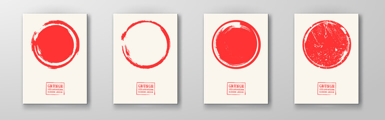 Big red grunge circle on white backgrounds set.