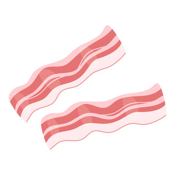 Raw bacon slices flat vector illustration