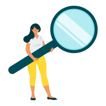 Woman holding magnifying glass flat vector character