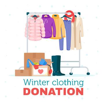 Winter warm clothing donation flat vector illustration