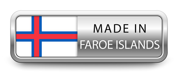 MADE IN FAROE ISLANDS metallic badge with national flag isolated on white background