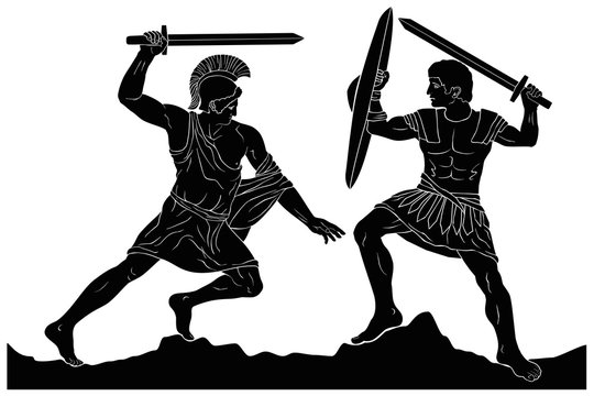 Two mythological heroes, Achilles and Hector, fight with swords. Vector image isolated on white background.