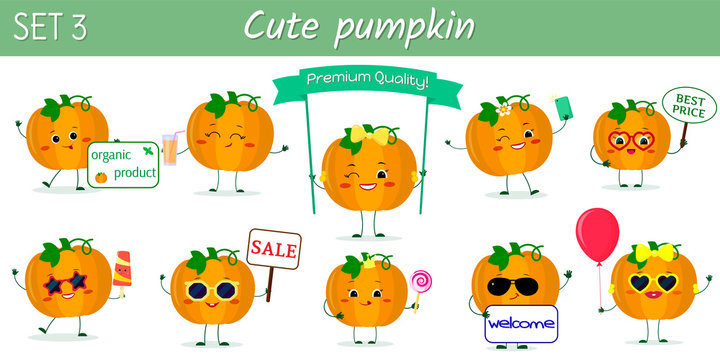Set of ten cute kawaii pumpkin vegetable characters in various poses and accessories in cartoon style. Vector illustration, flat design