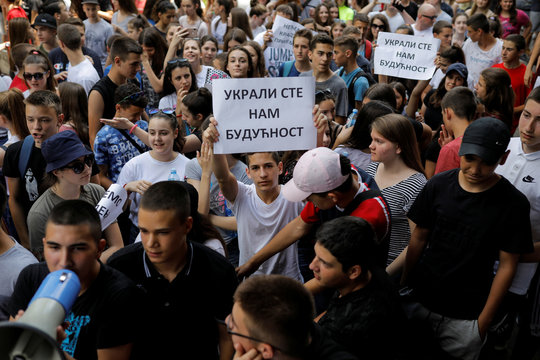 Serbia's primary schools students protest in Belgrade over math test leak