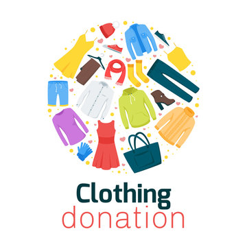 Clothing donation flat vector poster template