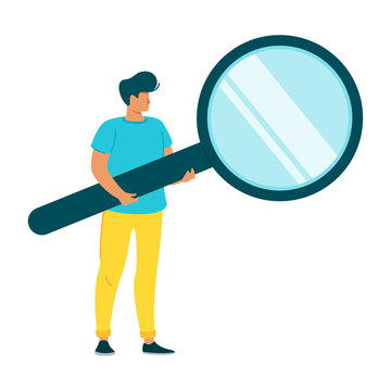 Man holding magnifying glass flat character