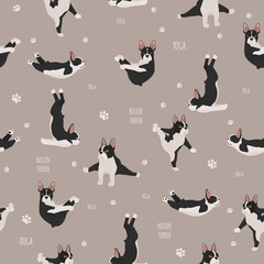Yoga dogs poses and exercises. French bulldog  seamless pattern