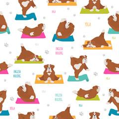 Yoga dogs poses and exercises. English bulldog seamless pattern