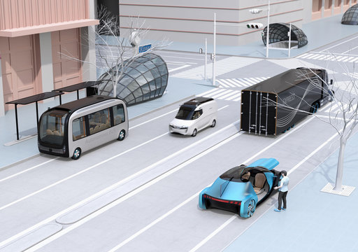 Scene of modern urban transportation style. People using smartphone to request a ride sharing, autonomous bus in bus stop. Electric truck and minivan moving on the road. Subway entry near to the inter