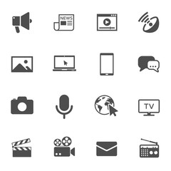 mass media vector icons set isolated on white background. media business concept. media flat icons for web and ui design.