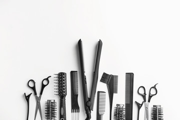 Set of hairdresser tools and accessories on white background Wall mural