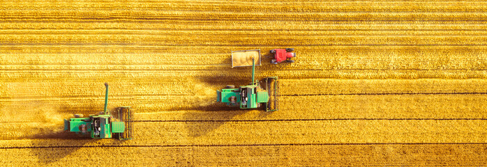 Zelfklevend Fotobehang Cultuur Harvester machine working in field