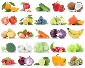 Wall Mural - Fruits and vegetables collection isolated apple oranges onions tomatoes lettuce berries fruit