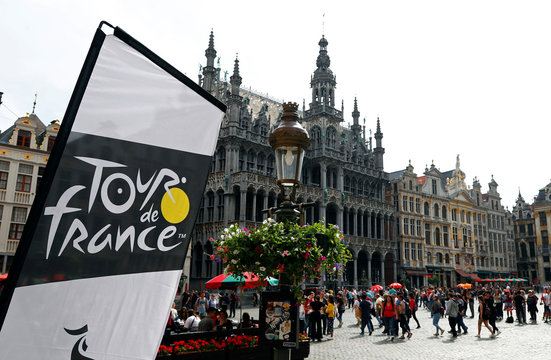 The logo of the Tour de France cycling race is pictured on Brussels' Grand Place