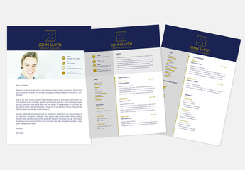 Blue and Gold Resume Layout Kit
