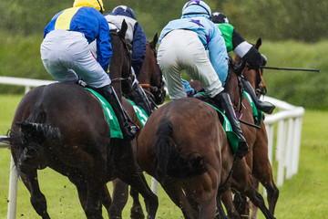 Close up on galloping race horses and jockeys in the rain