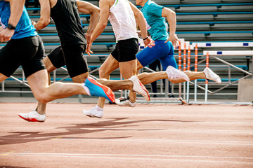 Custom vertical slats sports with your photo group of man runners sprinters run 100 meters athletics competition.