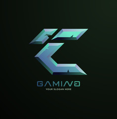 Initial letter C gaming esports style logo template