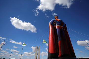 An inflatable doll of Brazil's Justice Minister Sergio Morois seen in front of National Congress in Brasilia