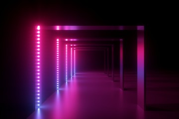 3d render, abstract pink blue neon background, fashion podium in ultraviolet light, performance stage decoration, illuminated night club corridor with square arcade Fototapete