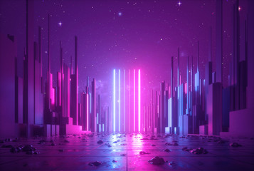 Fotorolgordijn Violet 3d abstract neon background, glowing ultraviolet vertical lines, cyber space, urban scene in virtual reality, empty street in fantastic city skyscrapers under the night sky, post apocalyptic concept