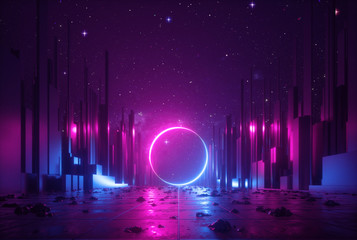 3d abstract neon background, cyber space virtual reality urban scene, glowing round shape portal at the end of the street, fantastic city, minimal skyscrapers, post apocalyptic concept, night sky Fotobehang