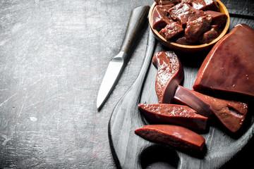 Sliced Raw liver.