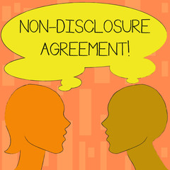Word writing text Non Disclosure Agreement. Business photo showcasing parties agree not disclose confidential information Silhouette Sideview Profile Image of Man and Woman with Shared Thought Bubble