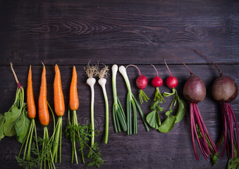 Carrots, beet, radishes, onions, garlic, spinach on wooden background. Flat lay, copy space - Image