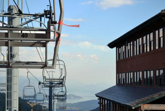 Ski Lift Over Looking Lake Pend Oreille, Idaho, USA