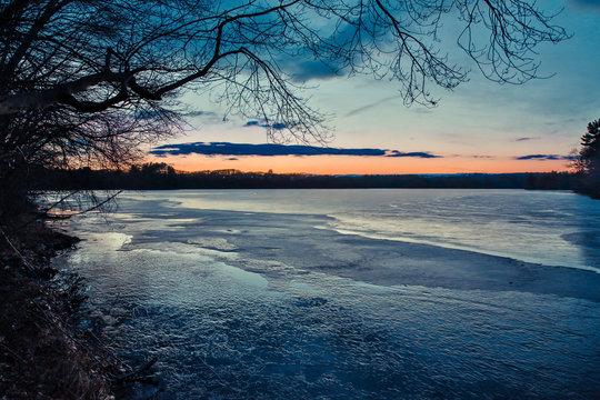 Sunset on a lake in Marlborough, Massachusetts