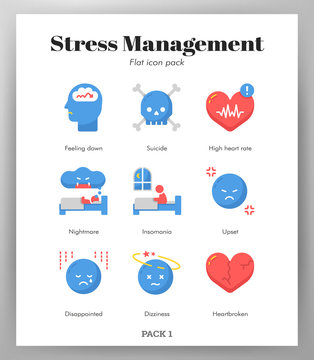 Stress management icons flat pack