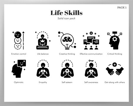 Life skills icons Solid pack