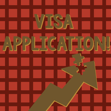 Writing note showing Visa Application. Business concept for conditional authorization granted by country to foreigner Arrow Pointing Up with Detached Part Jigsaw Puzzle Piece