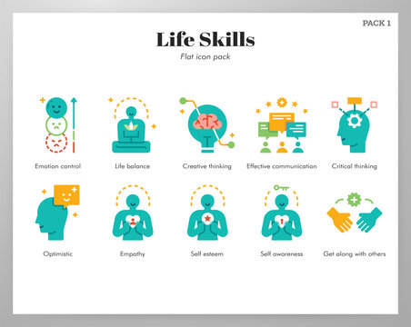 Life skills icons flat pack