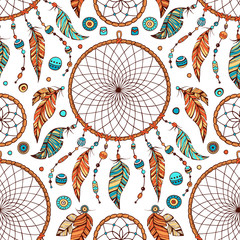 Hand drawn boho seamless pattern with indian tribal dream catcher and beads