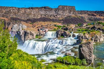 Beautiful Morning With Double Rainbows at Shoshone Falls in Twin Falls Idaho