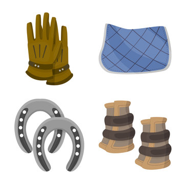 Vector illustration of horseback and equestrian icon. Set of horseback and horse vector icon for stock.