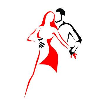 Salsa dance school logo. Couple dancing latin music