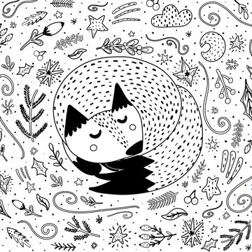Sleeping fox coloring page for adults and kids. Black and white background