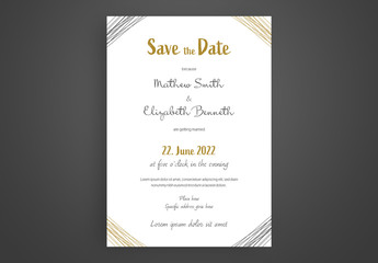 Wedding Invitation Layout with Gold Accents