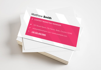 Business Card Layout with Crosshatching and Magenta Accents