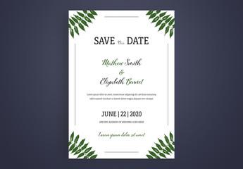 Wedding Invitation Layout with Green Plant Illustrations