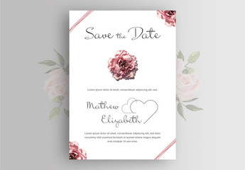 Wedding Invitation Layout with Pink Rose Photographs