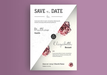 Business Card Layout with Rose Photographs and White Overlay