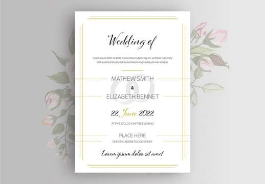Wedding Invitation Layout with Gold Lines