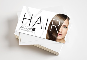 Business Card Layout for Hair Salon with Scissors Logo