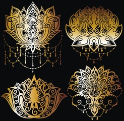 Lotus flowers silhouettes. Set of four vector illustrations
