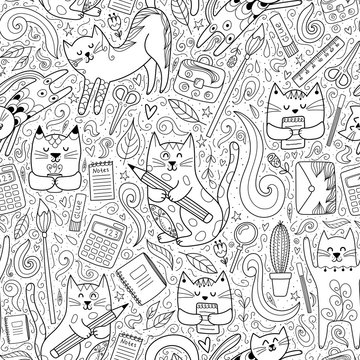 Cats go to school funny seamless pattern. Coloring page for adults and children